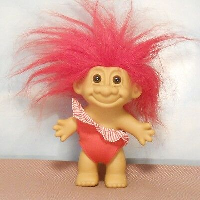 """Russ 4.5"""" red swimsuit girl TROLL DOLL: off-shoulder red striped ruffle"""
