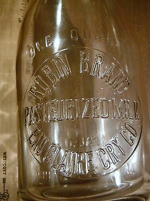 Vintage EAU CLAIRE, WISCONSIN Quart Milk Bottle/ROBIN BRAND/Embossed/T.M.F.G. CO