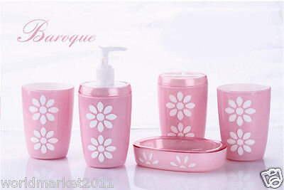 A44 New Acrylic Pink 5-in-1 2Tooth Mugs/Soap Dish/Sanitizers Bottle/Toothbruss
