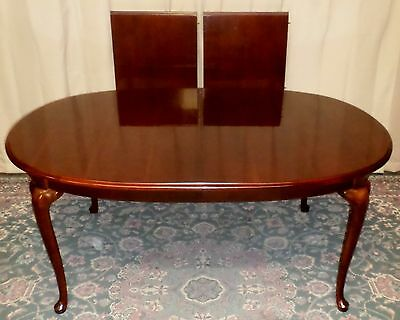 THOMASVILLE DINING TABLE Cherry Queen Anne Style with 2 Leafs VINTAGE