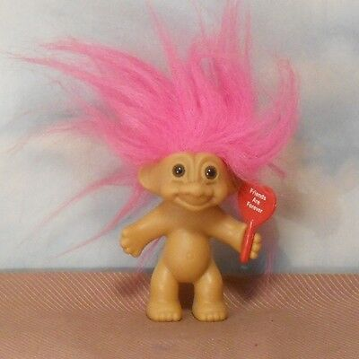 """Russ 3"""" Friends Are Forever TROLL DOLL: message on red heart/kiss on back end"""