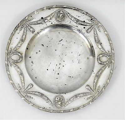 Antique 17C French STERLING SILVER Dinner Plate Portrait Cameo HEAVY! Victorian