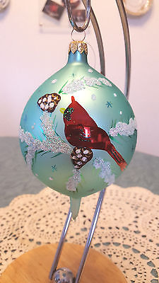 Christopher Radko  Blown Glass Christmas Ornament Cardinals in a Tree Hand Paint