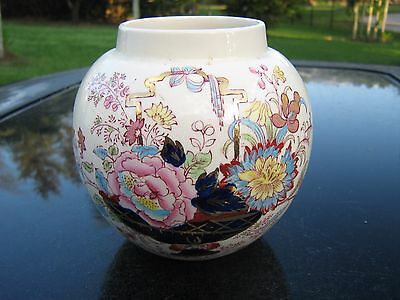 """Mason's Patent Blue And  Gold Accent Ironstone Brocade England 5"""" Pot"""