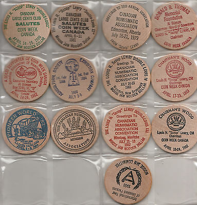 Moosejaw,Canada.Assorted(13) Large (2 inches)Wooden Dollars~combined S.& H.