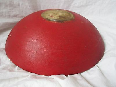 Vintage Out Of Round Wood Bowl Painted Red 11 X 10 3/8