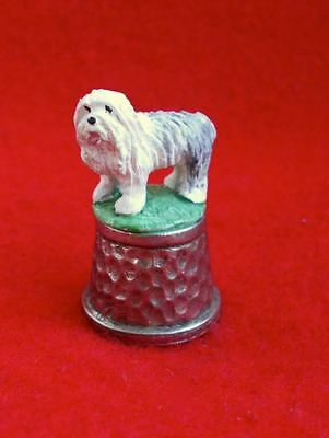 Old Hammered Pewter Metal Old English Sheepdog Thimble Dog from England Marked