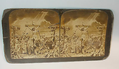 Antique Stereoview Card of the Crucifixion of Jesus