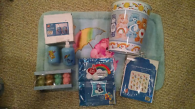 Care Bears Bath Bathroom Lot - Shower Curtain, Trash Can, Soaps, Toothbrush