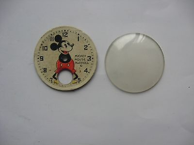 1930's Rare Vintage Pie-Eyed MICKEY MOUSE WRIST WATCH FACE & COVER (For Parts)