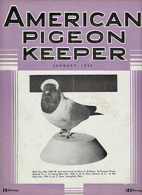 American Pigeon Keeper ~ Jan & Feb 1940~ Americana~Pigeon History~Two Issues