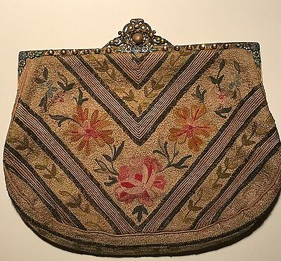 Antique Chinese Forbidden Stitch Clutch Handbag w/ Jeweled and Enameled Frame
