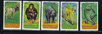 Ivory Coast 5 old used stamps