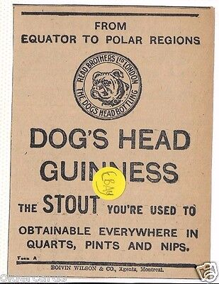 Brewery Guinness Stout Dogs Head Bottling .   1910 Ale.
