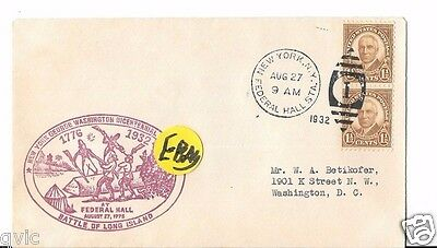 Battle Of Long Island 1932 Federal Hall.  Cover.