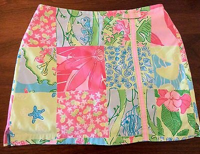 PinkGreenBlue RESORT ISLAND PATCH Print Cotton Girl Skort @ LILLY PULITZER Sz.12