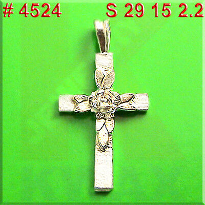 # 4524 CROSS RELIGION Rose Flower Charm Pendant Jewelry 925 Sterling Silver
