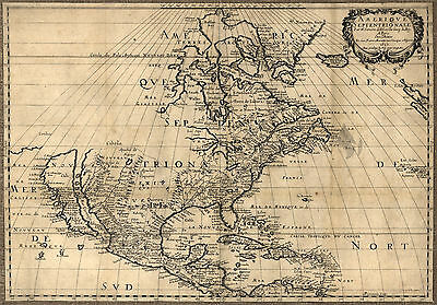 "1650 MAP United States, Canada, Mexico, antique, North America, 20""x14"" print"