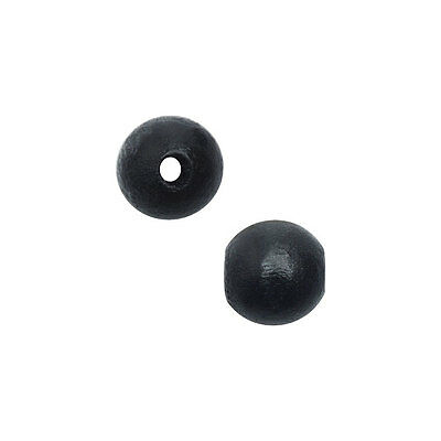 Smooth Wood Beads, Round with 8mm Diameter, 48 Pieces, Black