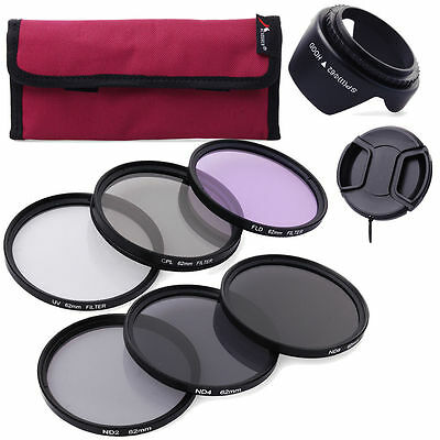 62mm UV CPL FLD ND2 4 8 Lens Filter Hood Kit For Tamron 18-200mm 70-300mm LF421