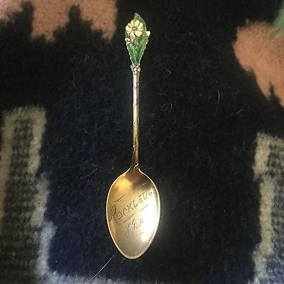 Rare Enamel Flower Rockledge Florida Sterling Silver Gorham Souvenir Spoon