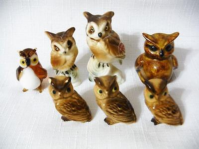Vintage Owl Miniature Figurines Ceramic Glass Porcelain 7pc Lot-