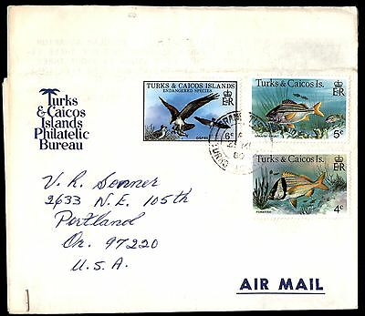 1980 Turks & Caicos Islands Fish & Bird Issues To Us Per Airmail Cover
