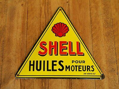 """SHELL HUILES PORCELAIN METAL SIGN ~13-1/4"""" x 11-3/4"""" GAS STATION OIL PUMP LUBE"""