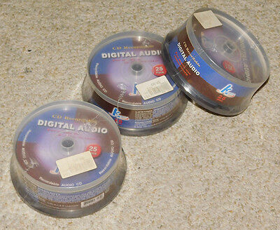 3 Sealed 25 Packs Never Used Hypermedia Digital Audio Cd Blank Recordable Disks