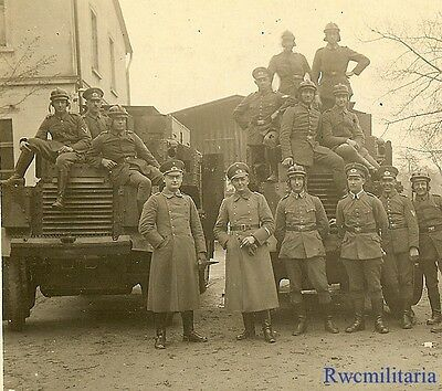 Port. Photo: RARE Group German Heer & Polizei Troops w/ Early Armored Cars!!!