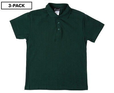 S. Cool Kids' Short Sleeve Polo Shirt 3-Pack - Bottle