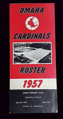 1957 Omaha Cardinals Roster Schedule GRAND OPENING GAME Program vs Charleston