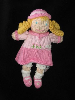 """Zubels Doll Plush Knit Stuffed Toy Baby Lovey Rattle Pink Blonde Small 9"""""""