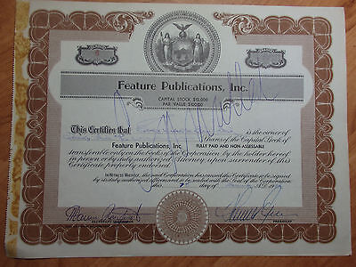 1956 25 Shares  Feature Publications Inc Company Stock Certificates