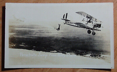 1923 Real Original Photo Navy Of Parachute Jump From Navy Plane