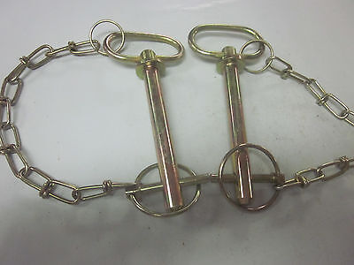 "~ 2 ~ Tractor Trailer 1/2"" X 4-1/2"" Hitch Pin Chain Clip Lynch Receiver Tow Lock"