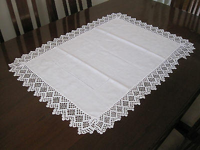 Vintage Large Rectangular Cotton Damask Table Centre With Crochet Lace Edge