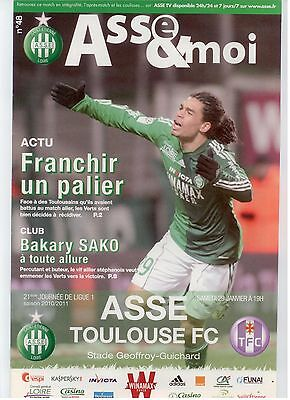 Football Programme 2011 Asse St Etienne Toulouse Fc Tbe