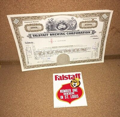 Falstaff Beer Brewing Corporation Stock Certificate +Vintage Decal St Louis Area