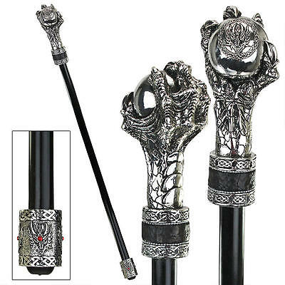 Gothic Dragon Claw Clutching Orb Knob Handle Ebony Metal Cane Walking Stick