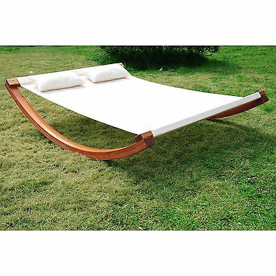 """78.74"""" Rocking Double Sun Lounger Hammock with Curved Wooden Stand Yard Patio"""