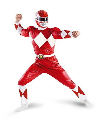Licensed Power Rangers Red Ranger Classic Muscle Adult Mens Halloween Costume