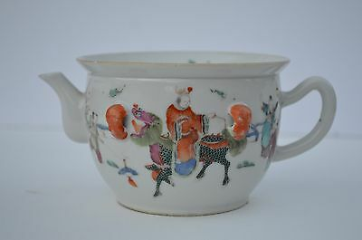 Beautiful Chinese Small Hand Painted Famille Rose Porcelain Teapot Red Marking