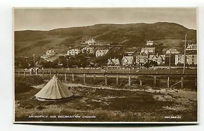 Aberdovey - Recreation Ground, tent, railway, houses - old real photo postcard