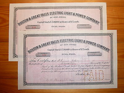US: 1891 !!! Boston & Great Falls Electric Light & Power, 17 Shares+ blanko-St.*