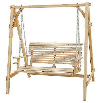 5 ft Wooden Porch Swing Chair Seat w/ Chain Canopy Natural FSC certificated Wood