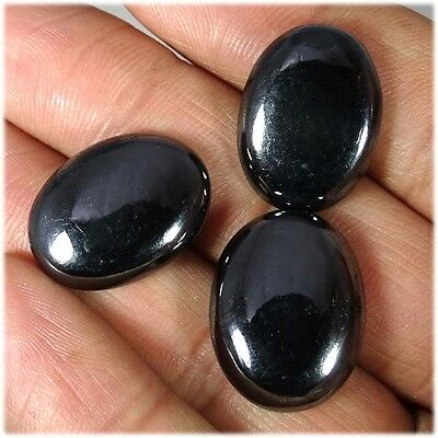 89.10Cts.  3 PIECE 100% NATURAL UNTREATED HEMATITE OVAL CABOCHON LOOSE GEMSTONES
