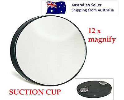 1pc X NEW COMPACT 12 x MAGNIFYING SUCTION SHAVE COSMETIC MIRROR BATHROOM