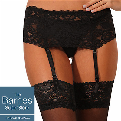 Suspender Belt Ideal For Stockings Wide Lace Silky Black White Red Free Postage