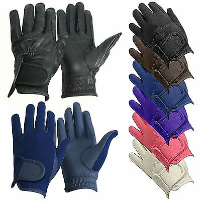 Bitz Kids Childs Horse Riding Gloves Winter Leather Synthetic All Sizes Colours